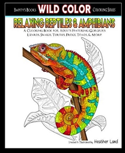 Relaxing Reptiles & Amphibians Adult Coloring Book